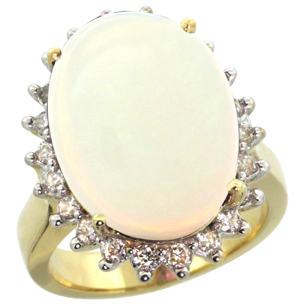 14k Yellow Gold Diamond Halo Natural Opal Ring Large Oval 18x13mm, sizes 5-10