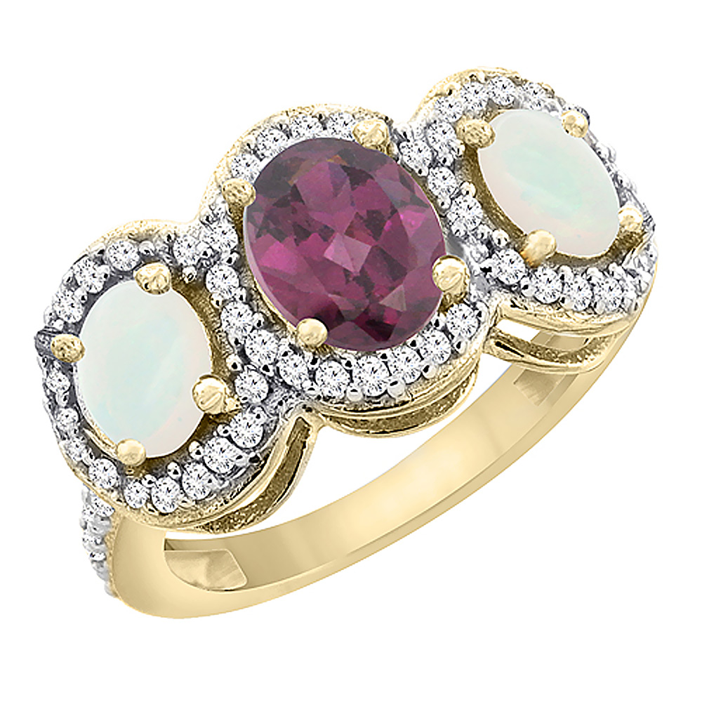 14K Yellow Gold Natural Rhodolite & Opal 3-Stone Ring Oval Diamond Accent, sizes 5 - 10