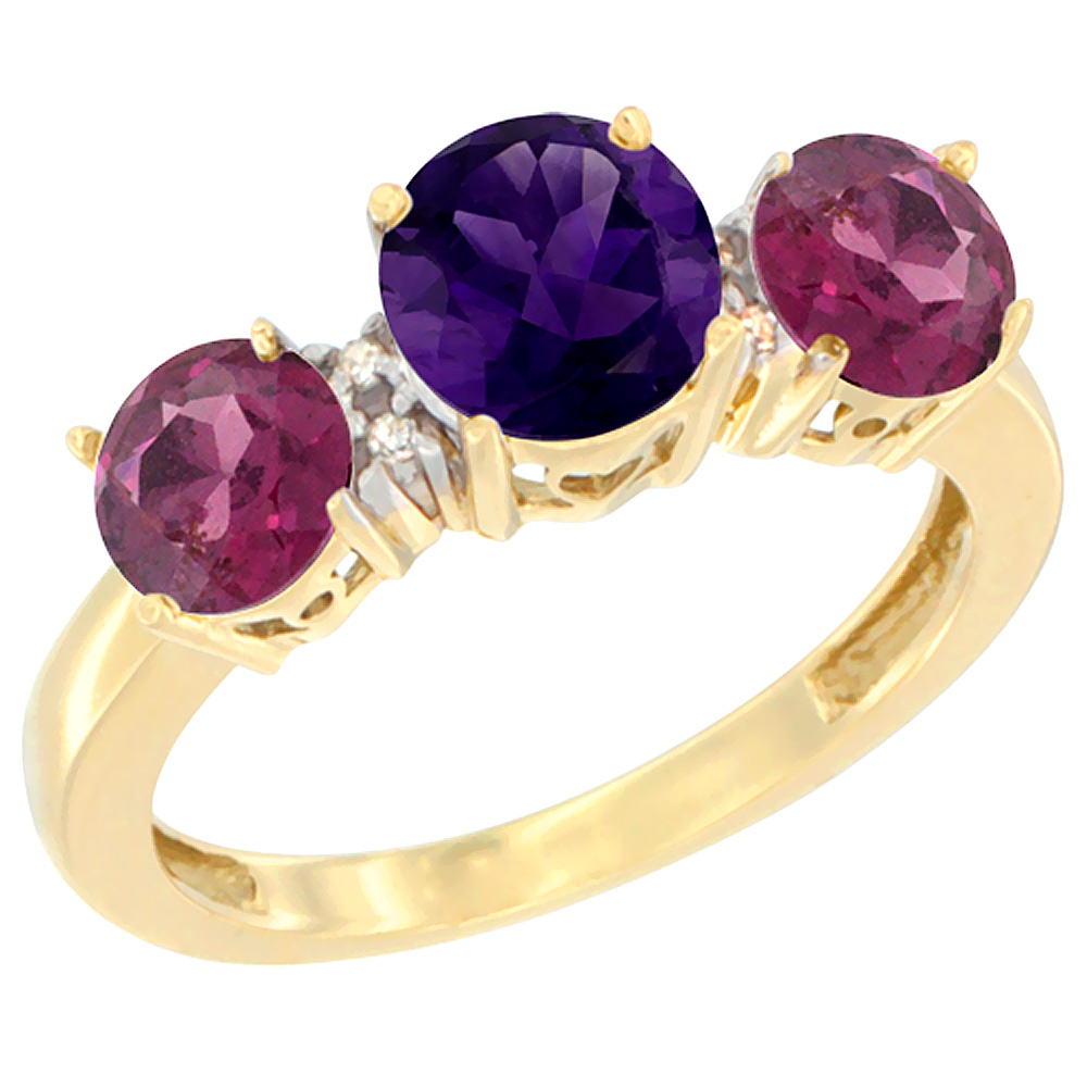 10K Yellow Gold Round 3-Stone Natural Amethyst Ring & Rhodolite Sides Diamond Accent, sizes 5 - 10