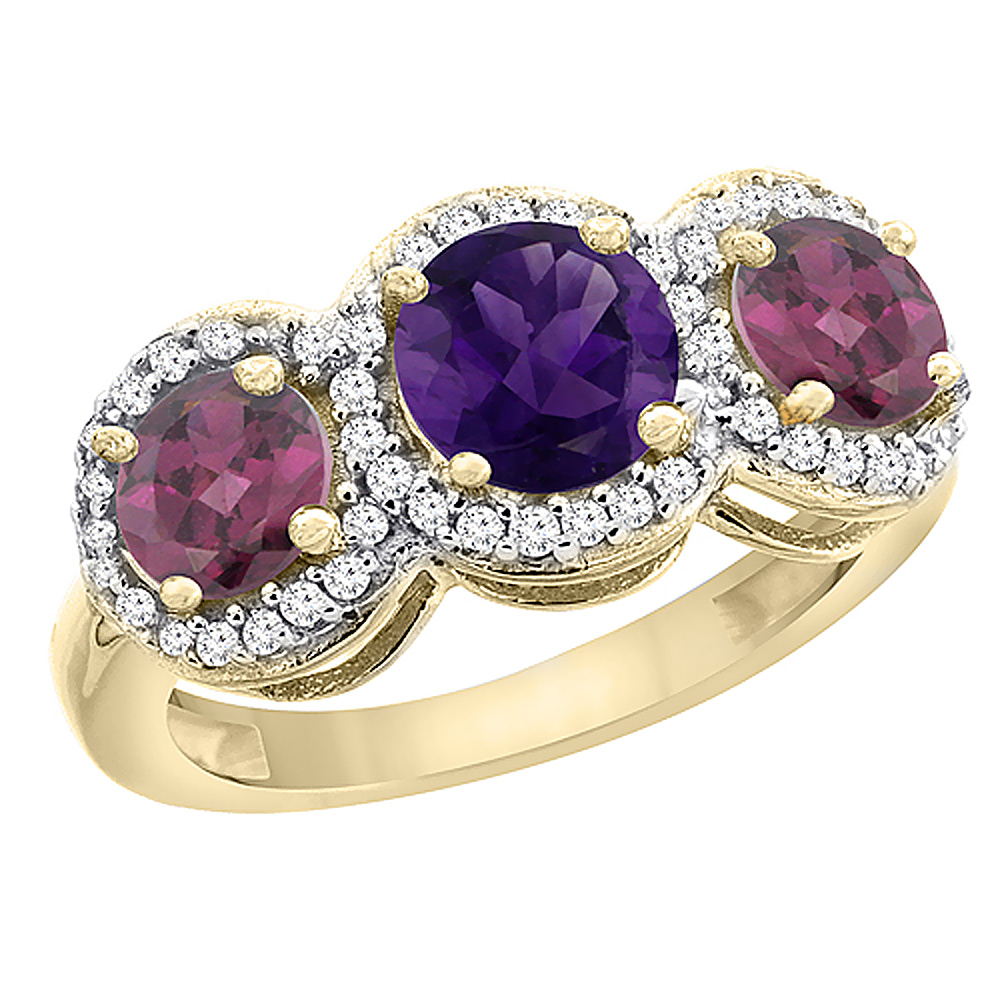 10K Yellow Gold Natural Amethyst & Rhodolite Sides Round 3-stone Ring Diamond Accents, sizes 5 - 10