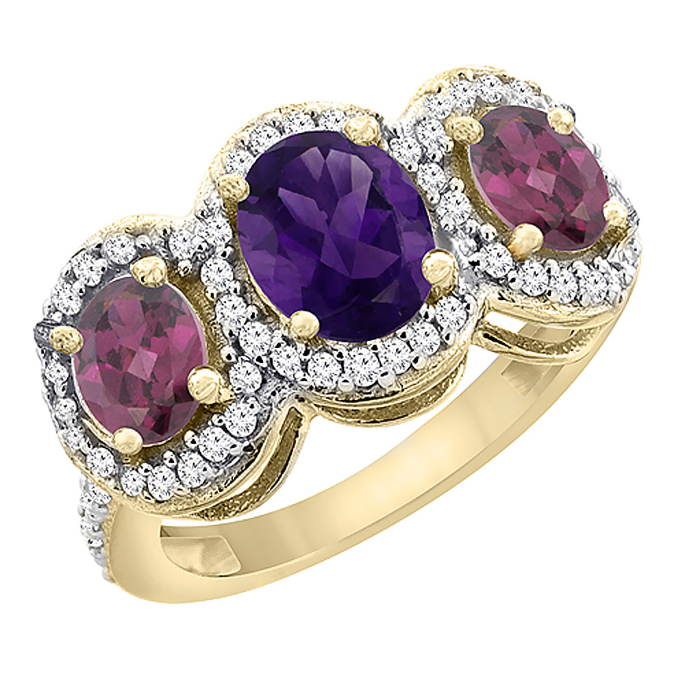 10K Yellow Gold Natural Amethyst & Rhodolite 3-Stone Ring Oval Diamond Accent, sizes 5 - 10
