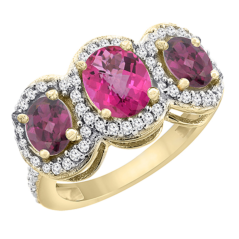 10K Yellow Gold Natural Pink Topaz & Rhodolite 3-Stone Ring Oval Diamond Accent, sizes 5 - 10