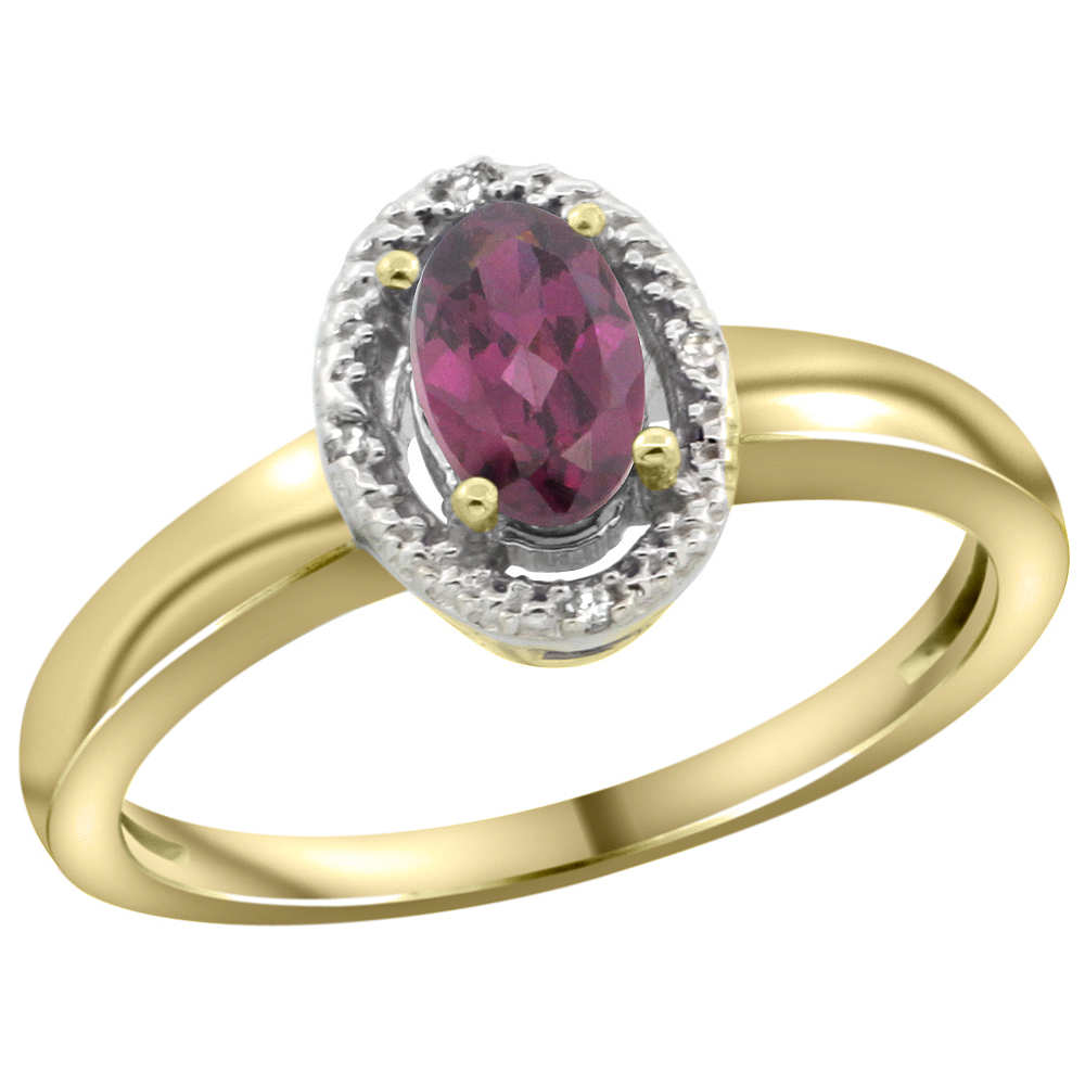 10K Yellow Gold Diamond Halo Natural Rhodolite Engagement Ring Oval 6X4 mm, sizes 5-10
