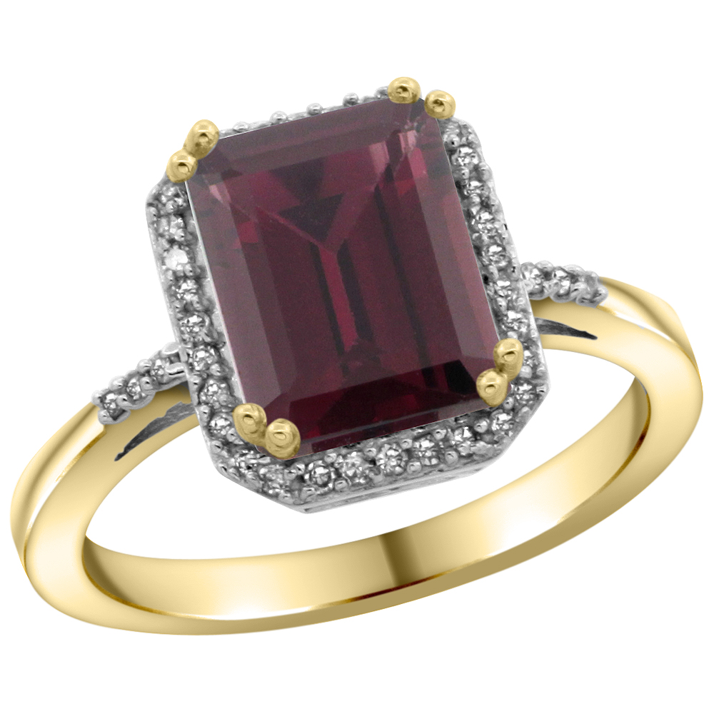 10K Yellow Gold Diamond Natural Rhodolite Ring Emerald-cut 9x7mm, sizes 5-10