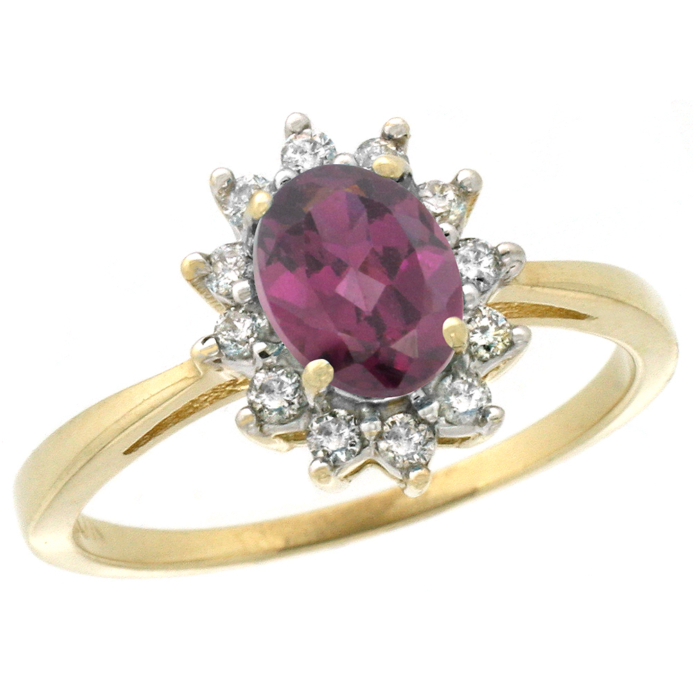 14K Yellow Gold Natural Rhodolite Engagement Ring Oval 7x5mm Diamond Halo, sizes 5-10