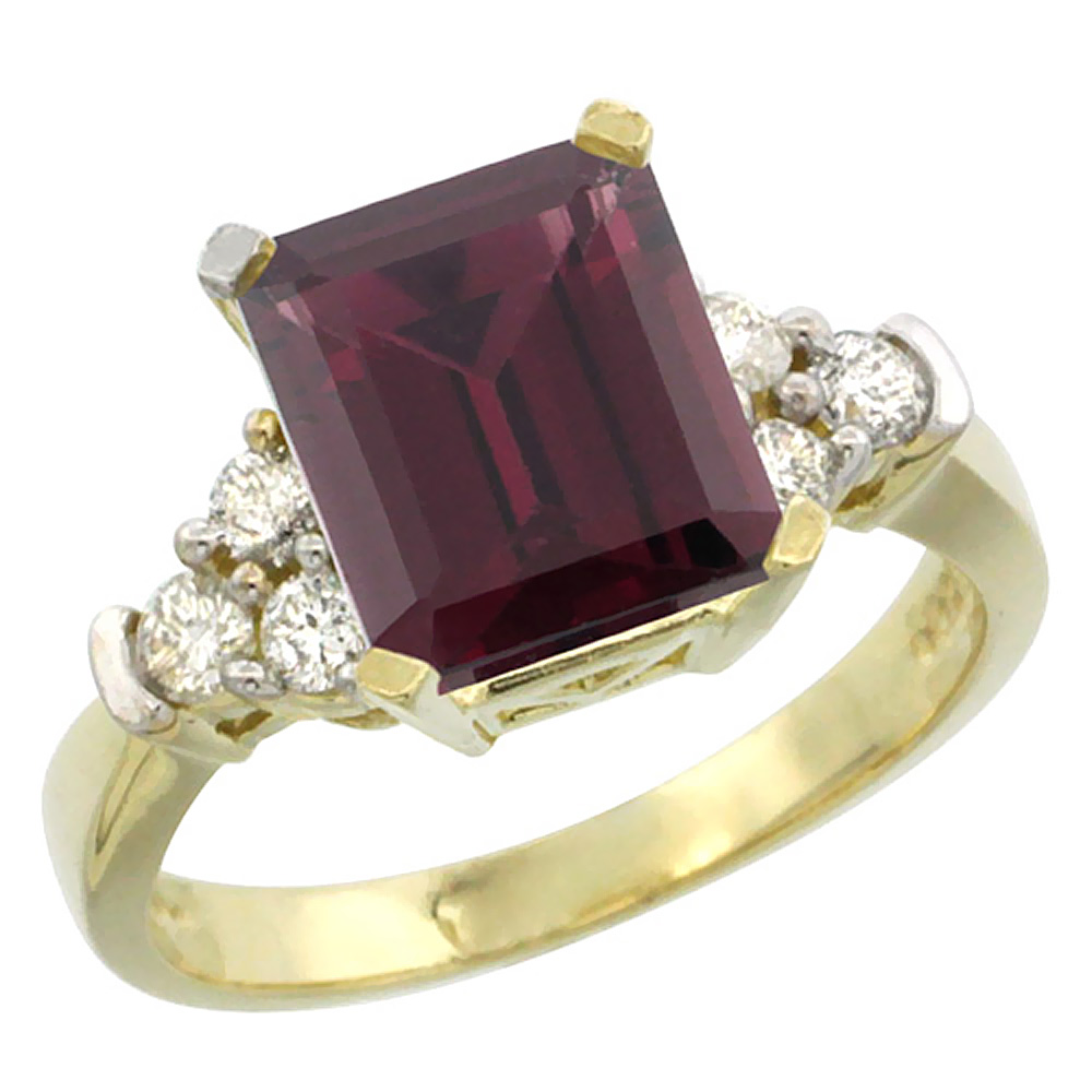 14K Yellow Gold Natural Rhodolite Ring Octagon 9x7mm Diamond Accent, sizes 5-10