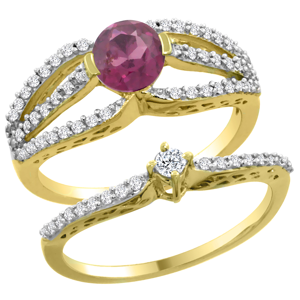 14K Yellow Gold Natural Rhodolite 2-piece Engagement Ring Set Round 5mm, sizes 5 - 10