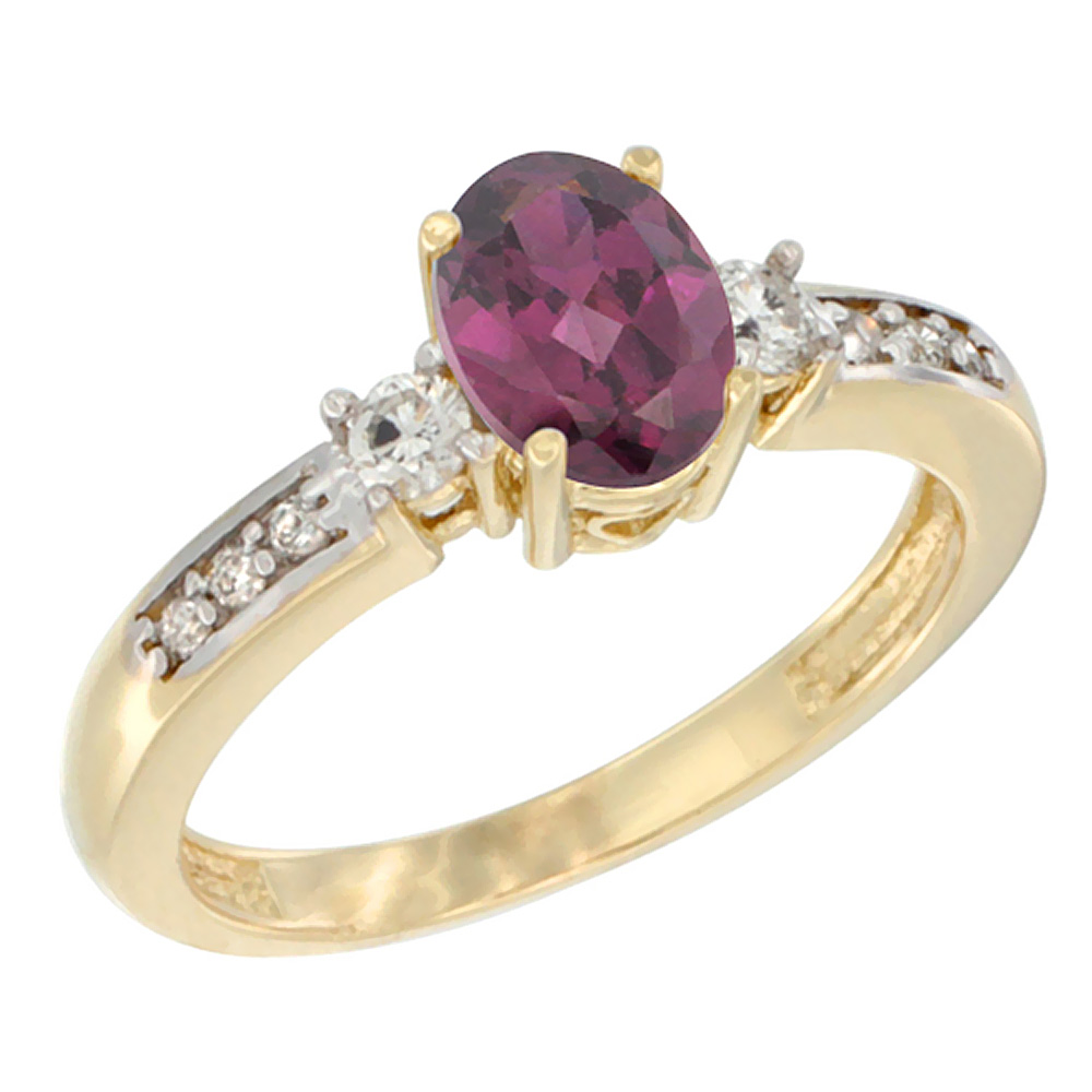 14K White Gold Diamond Natural Rhodolite Engagement Ring Oval 7x5 mm, sizes 5 - 10