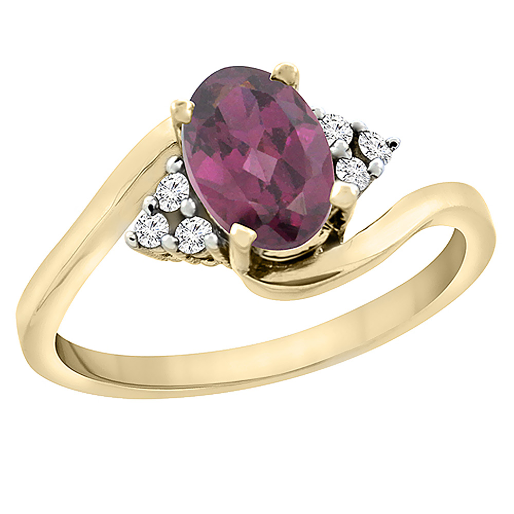 10K Yellow Gold Diamond Natural Rhodolite Engagement Ring Oval 7x5mm, sizes 5 - 10