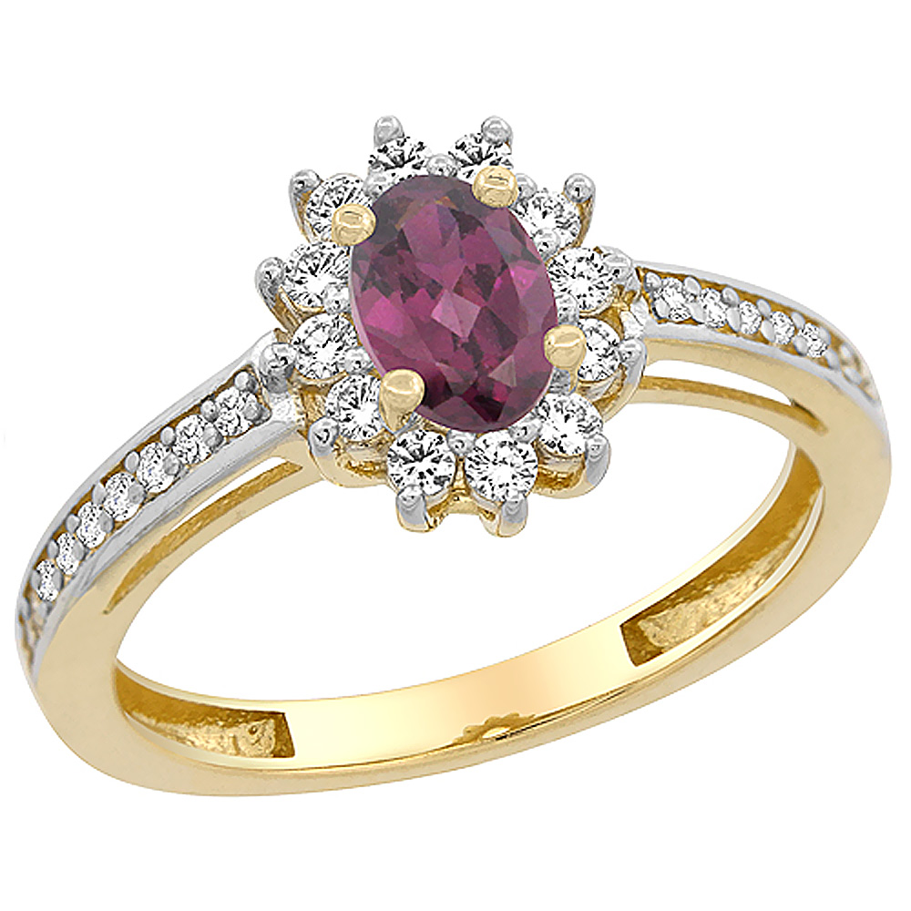 10K Yellow Gold Natural Rhodolite Flower Halo Ring Oval 6x4 mm Diamond Accents, sizes 5 - 10