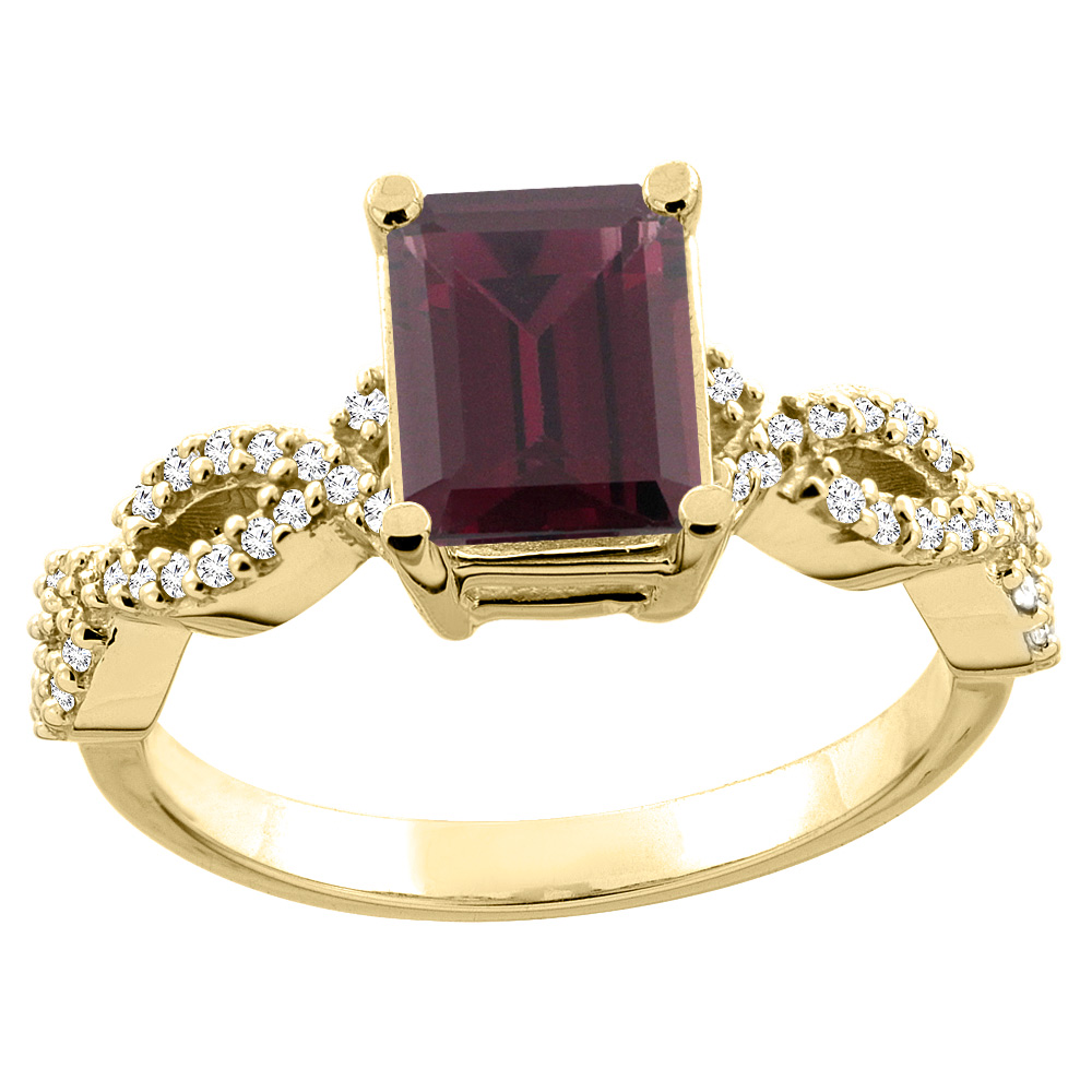 10K White/Yellow Gold Natural Rhodolite Eternity Ring Octagon 9x7mm Diamond Accent, sizes 5 - 10
