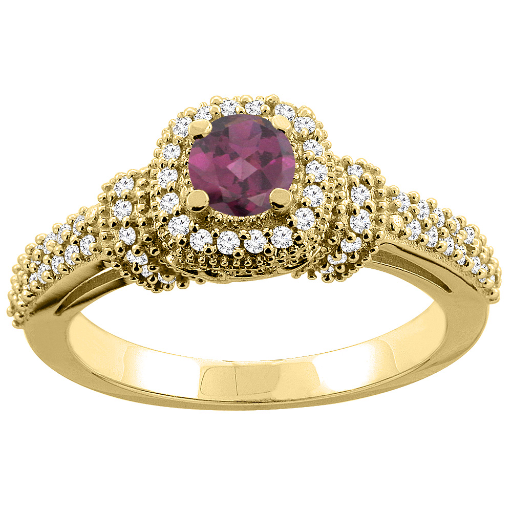 10K Gold Natural Rhodolite Engagement Halo Ring Round 5mm Diamond Accents, sizes 5 - 10