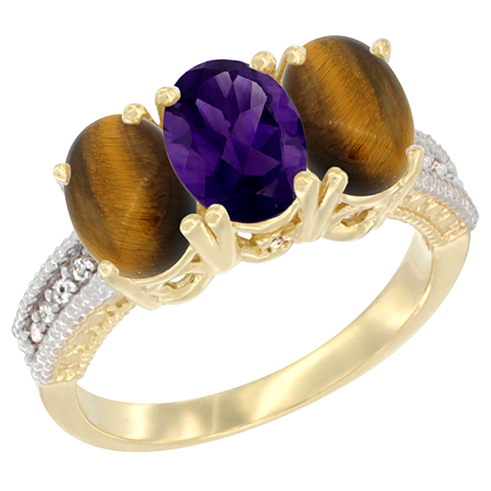 10K Yellow Gold Natural Amethyst & Tiger Eye Ring 3-Stone Oval 7x5 mm Diamond Accent, sizes 5 - 10