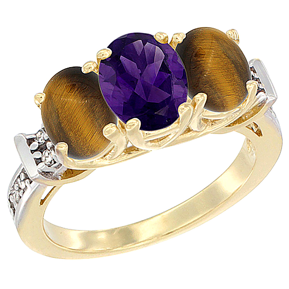10K Yellow Gold Natural Amethyst & Tiger Eye Sides Ring 3-Stone Oval Diamond Accent, sizes 5 - 10