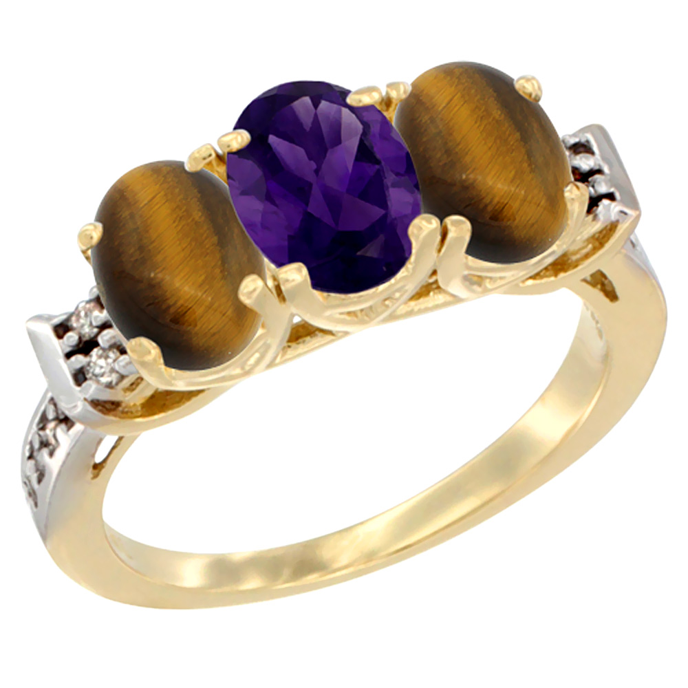 10K Yellow Gold Natural Amethyst & Tiger Eye Sides Ring 3-Stone Oval 7x5 mm Diamond Accent, sizes 5 - 10