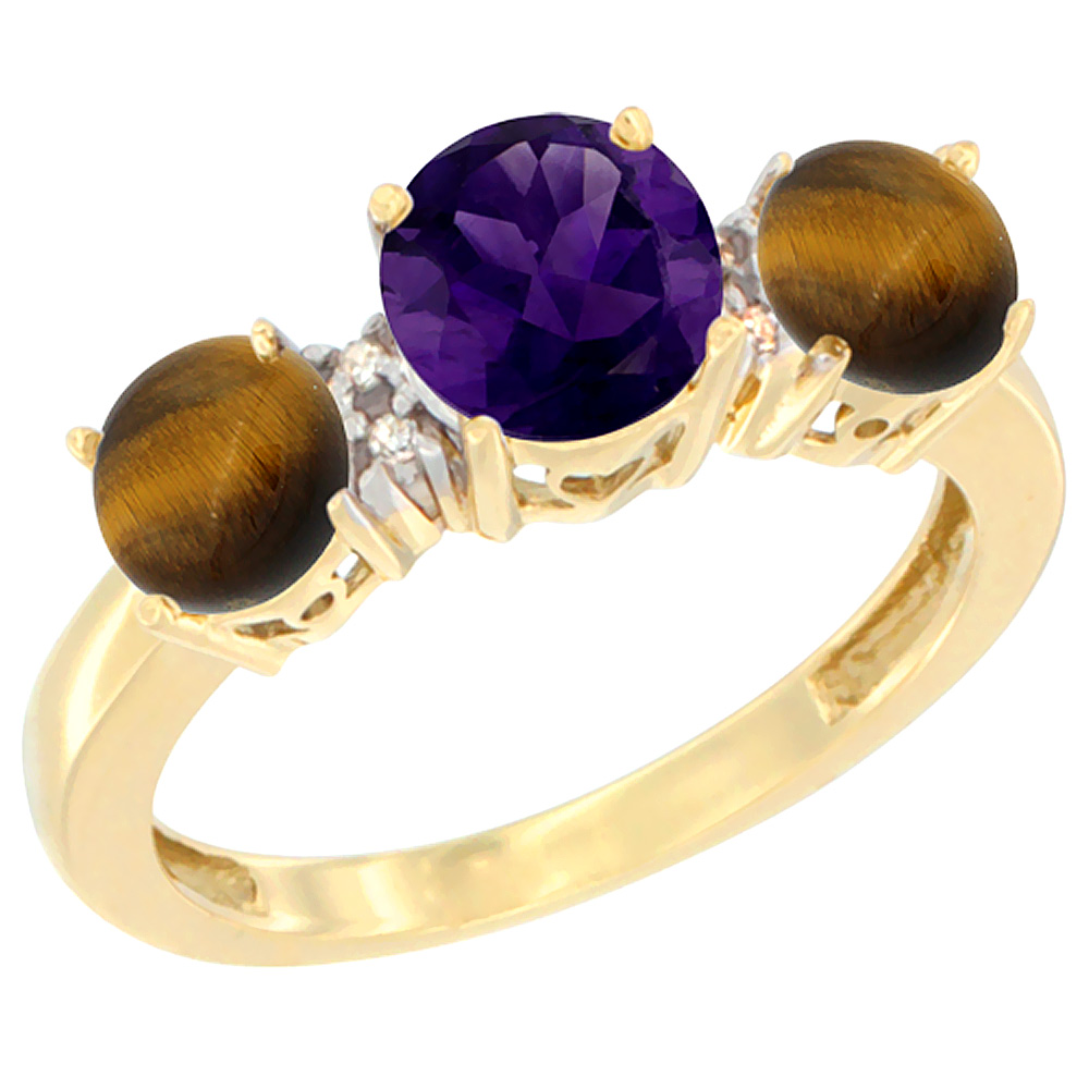 10K Yellow Gold Round 3-Stone Natural Amethyst Ring & Tiger Eye Sides Diamond Accent, sizes 5 - 10