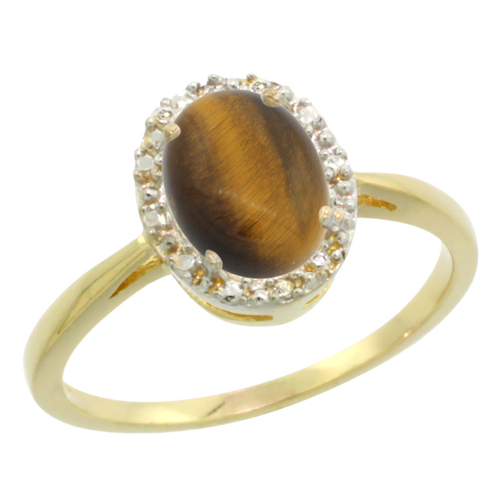 10K Yellow Gold Natural Tiger Eye Diamond Halo Ring Oval 8X6mm, sizes 5-10