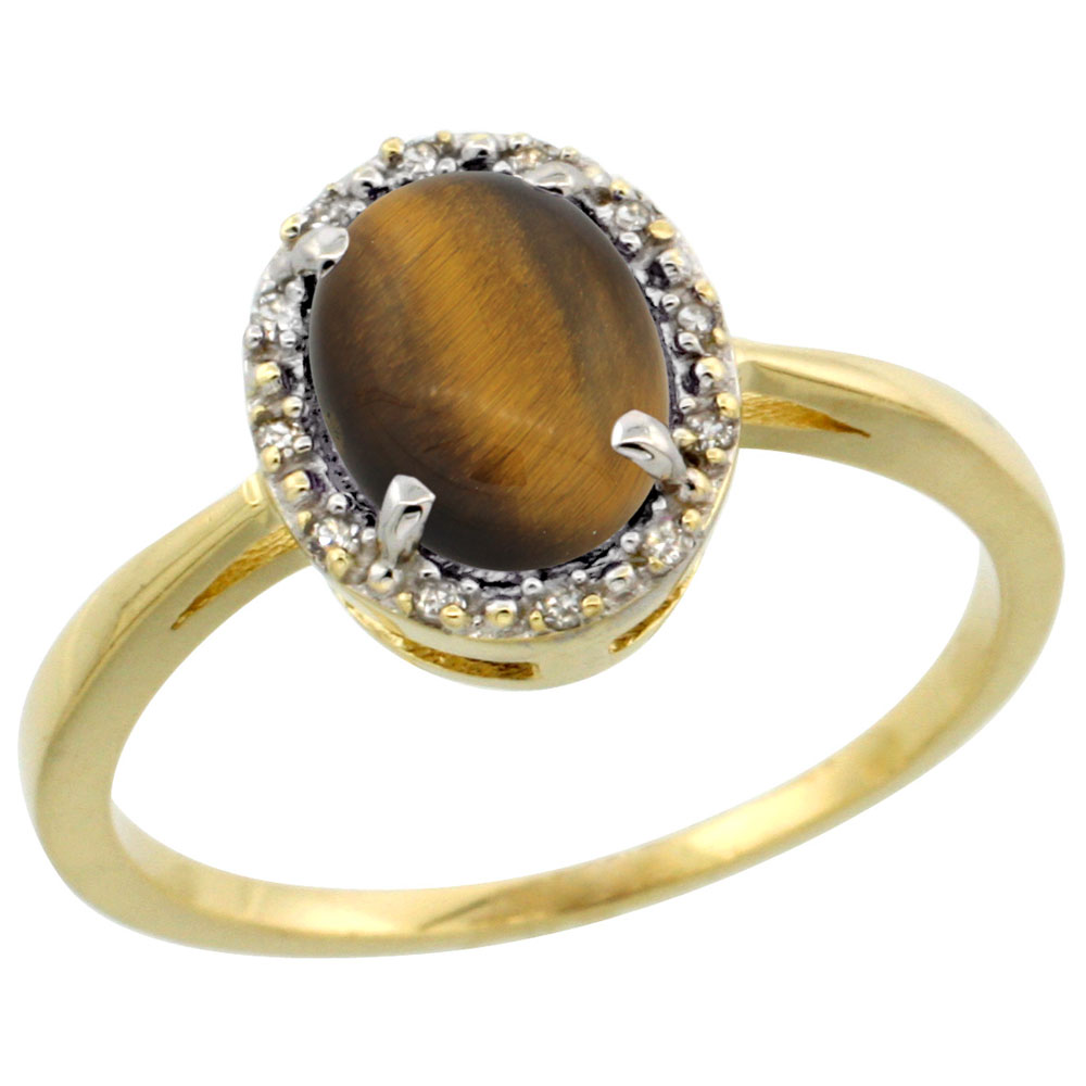 14K Yellow Gold Natural Tiger Eye Ring Oval 8x6 mm Diamond Halo, sizes 5-10