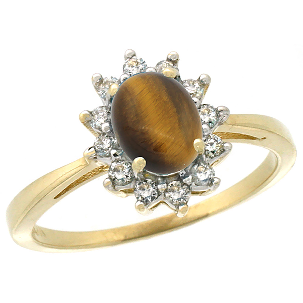 10k Yellow Gold Natural Tiger Eye Engagement Ring Oval 7x5mm Diamond Halo, sizes 5-10