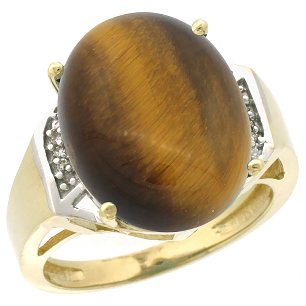 10K Yellow Gold Diamond Natural Tiger Eye Ring Oval 16x12mm, sizes 5-10