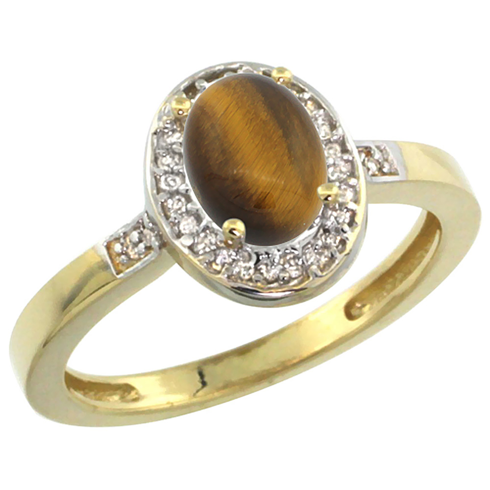 10K Yellow Gold Diamond Natural Tiger Eye Engagement Ring Oval 7x5mm, sizes 5-10