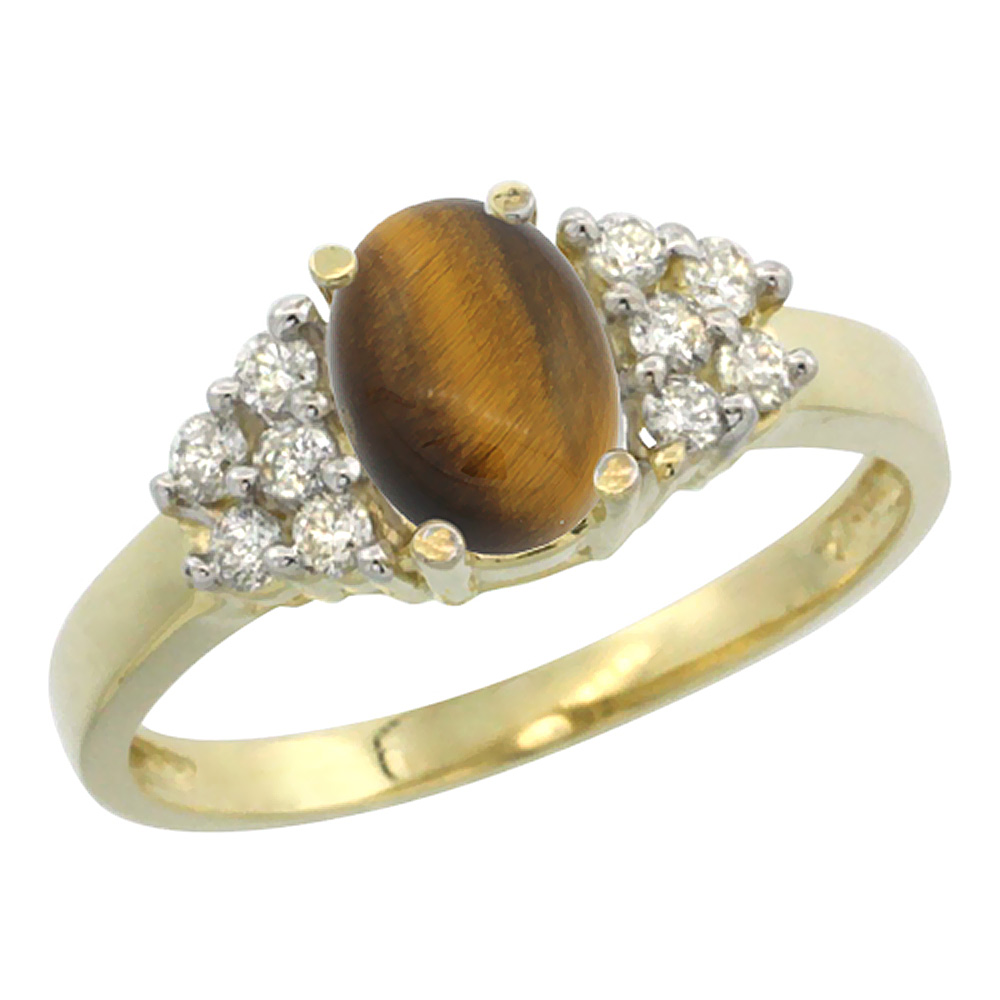 10K Yellow Gold Natural Tiger Eye Ring Oval 8x6mm Diamond Accent, sizes 5-10