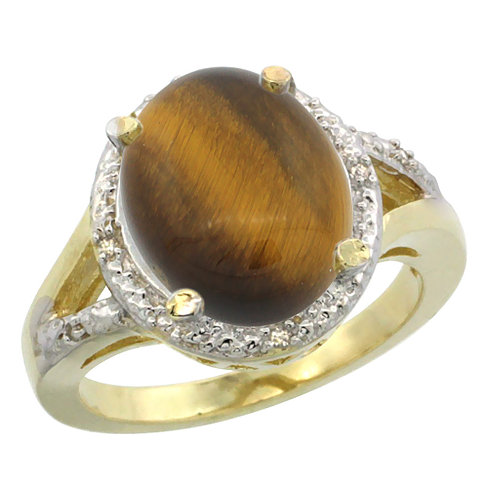 14K Yellow Gold Natural Tiger Eye Ring Oval 12x10mm Diamond Accent, sizes 5-10