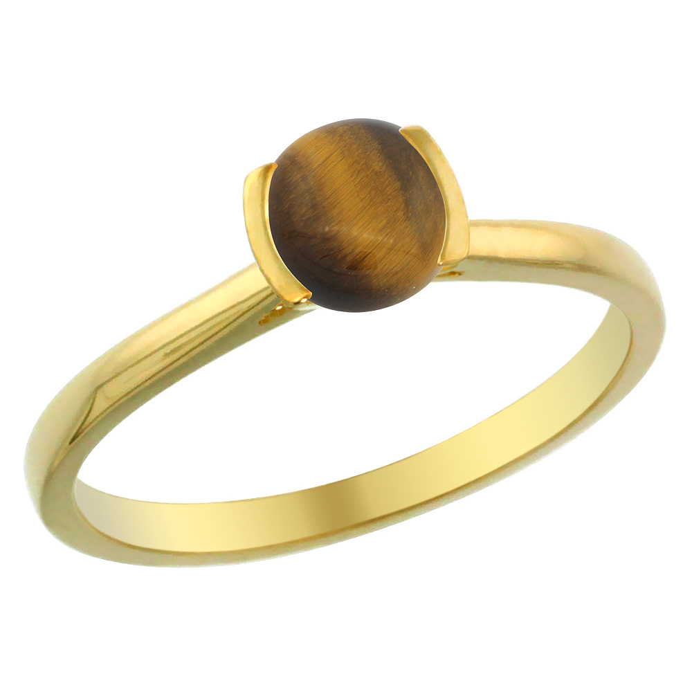 14K Yellow Gold Natural Tiger Eye Solitaire Ring Round 5mm, sizes 5 - 10