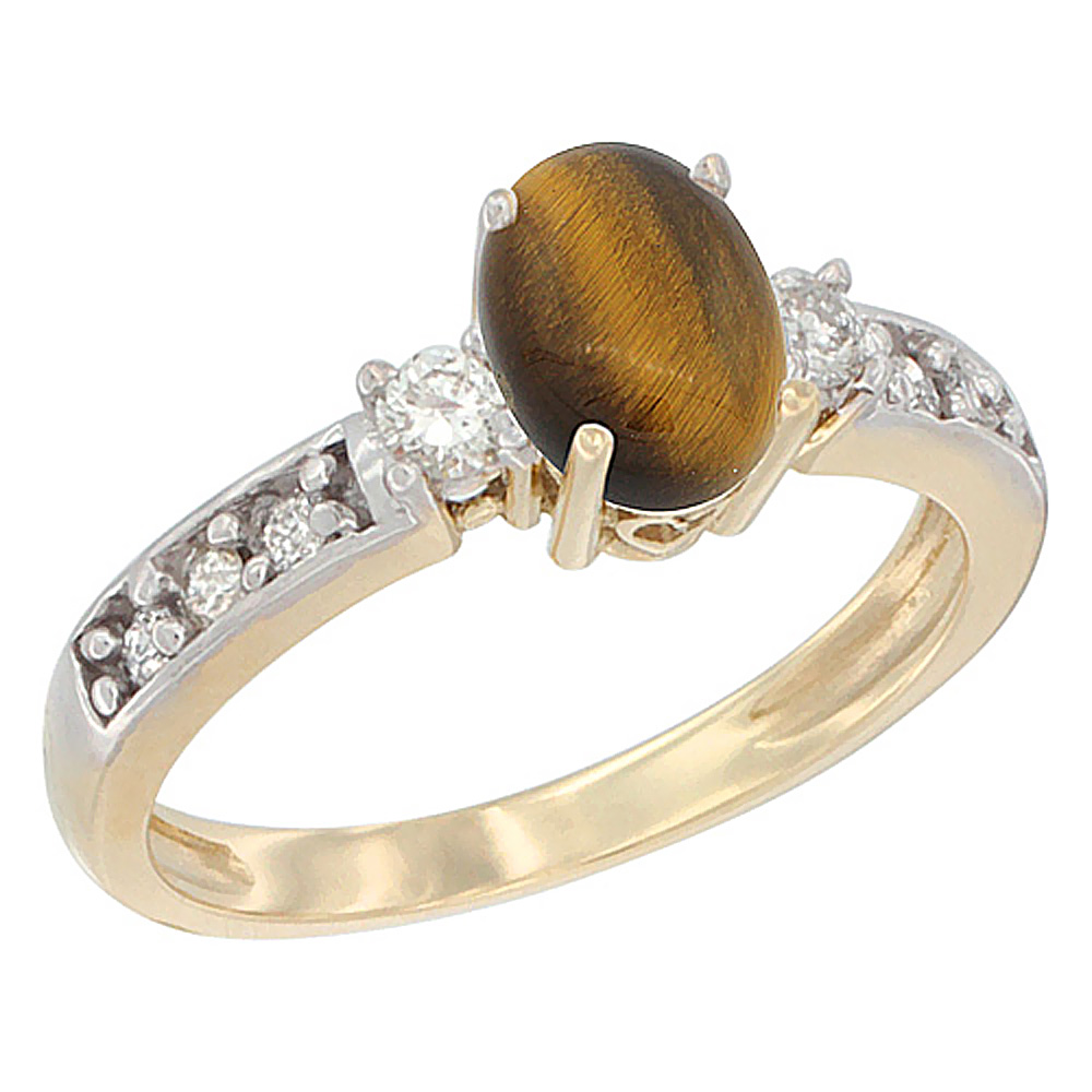 10k Yellow Gold Natural Tiger Eye Ring Oval 7x5 mm Diamond Accent, sizes 5 - 10