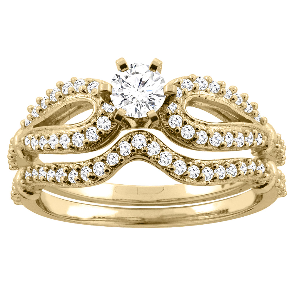 14K Gold 0.59 cttw Round Diamond 2-Piece Bridal Ring Set, sizes 5 - 10
