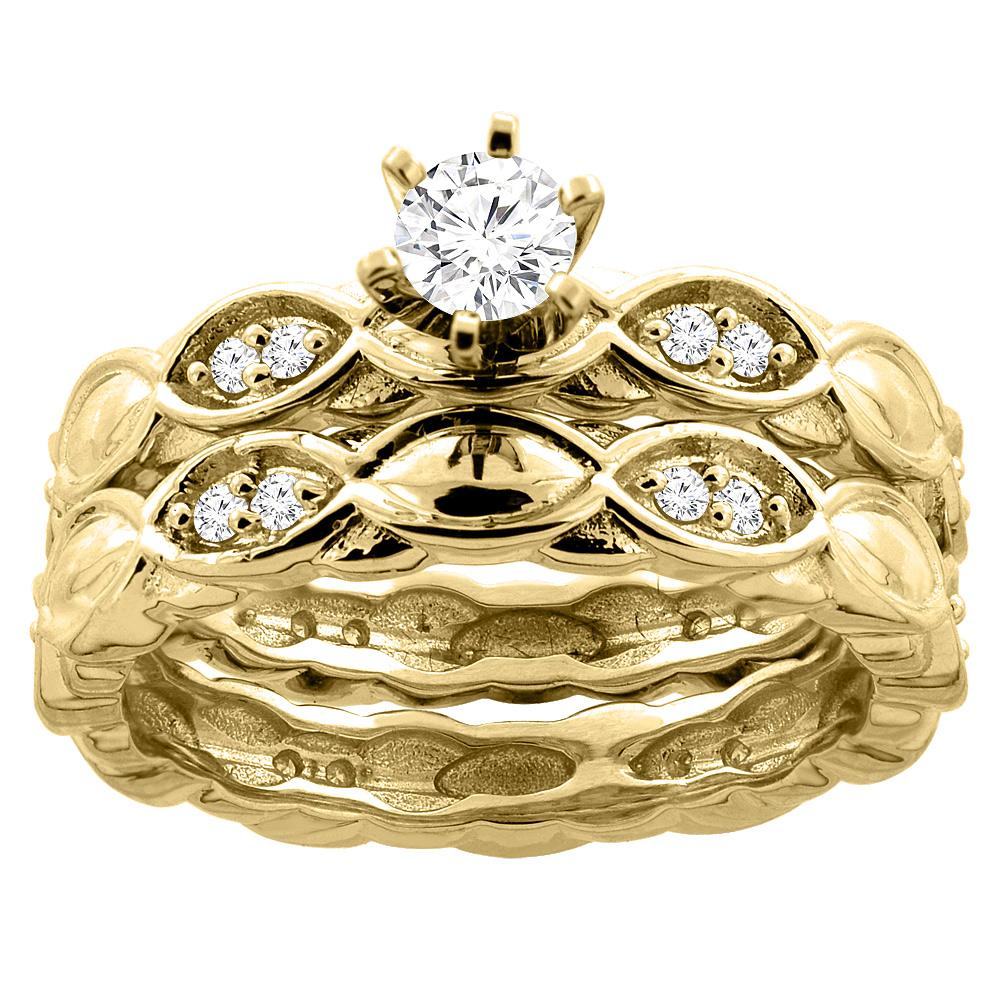 14K Yellow Gold 0.47 cttw. Round Diamond 2-piece Bridal Ring Set, sizes 5 - 10