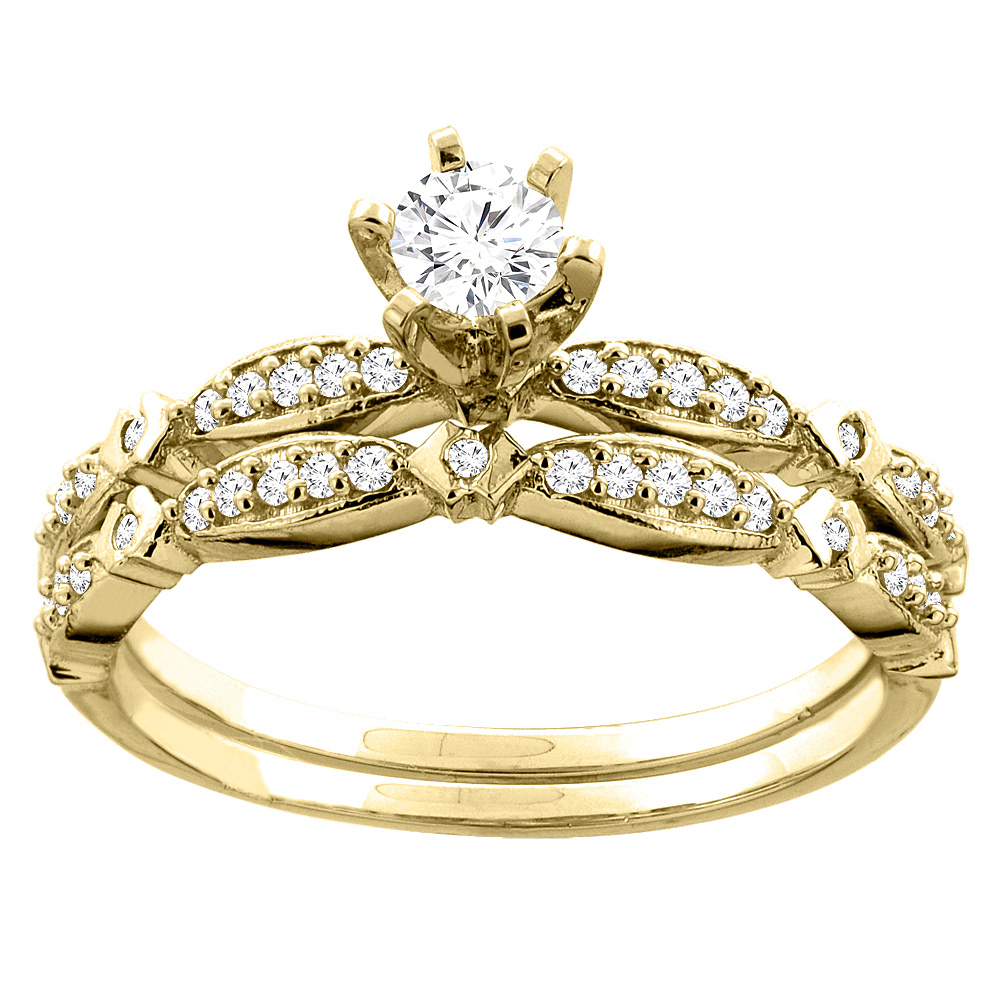 14K Gold 0.42 cttw. Round Diamond 2-piece Bridal Ring Set, sizes 5 - 10