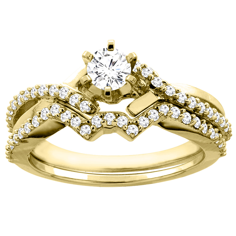 14K Gold 0.60 cttw. Round Diamond 2-piece Bridal Ring Set, sizes 5 - 10