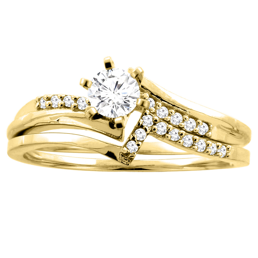 14K Gold 0.32 cttw. Round Diamond 2-piece Bridal Ring Set, sizes 5 - 10