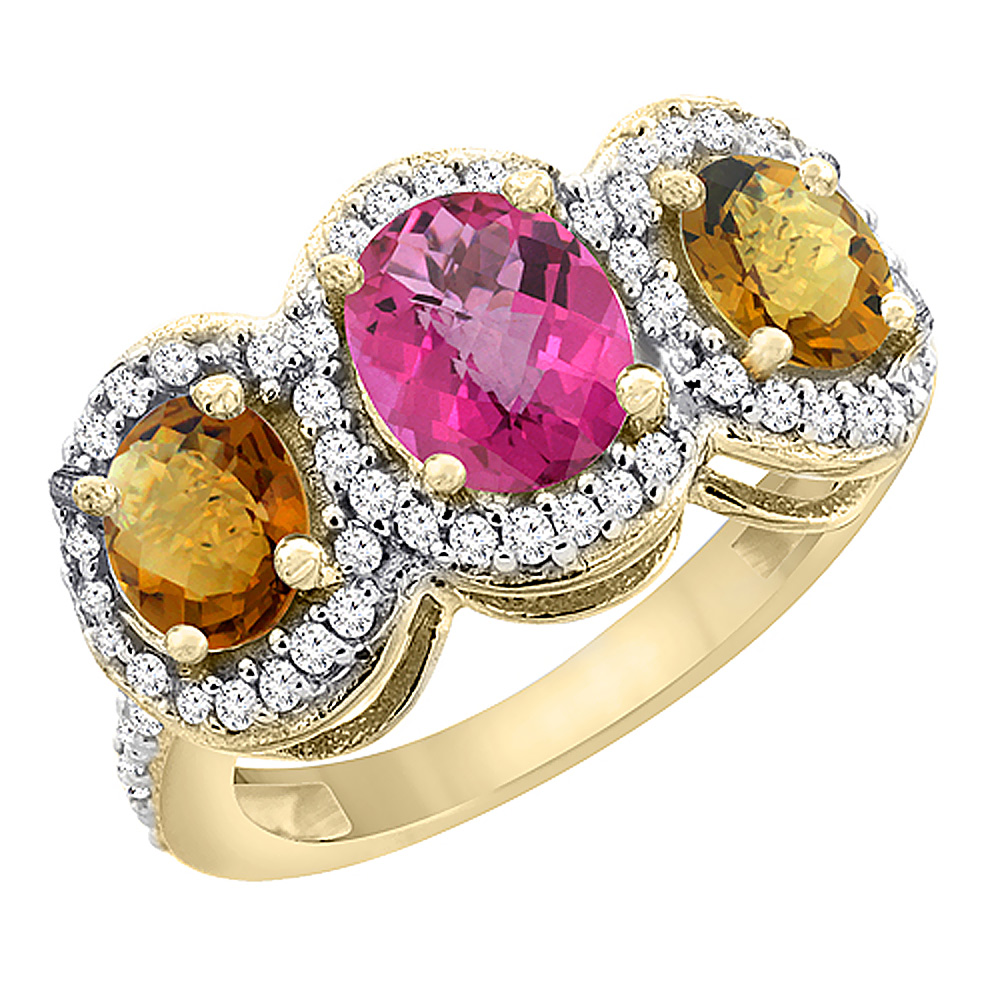 10K Yellow Gold Natural Pink Topaz & Whisky Quartz 3-Stone Ring Oval Diamond Accent, sizes 5 - 10