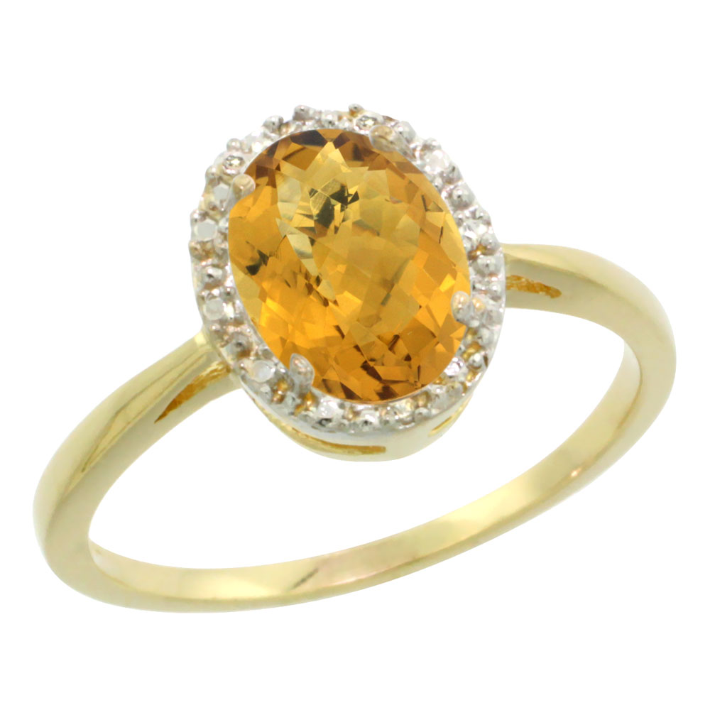 10K Yellow Gold Natural Whisky Quartz Diamond Halo Ring Oval 8X6mm, sizes 5 10