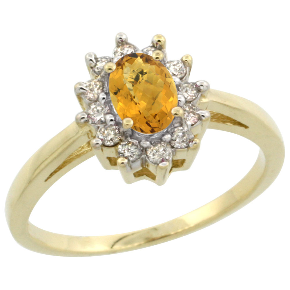 10K Yellow Gold Natural Whisky Quartz Flower Diamond Halo Ring Oval 6x4 mm, sizes 5 10