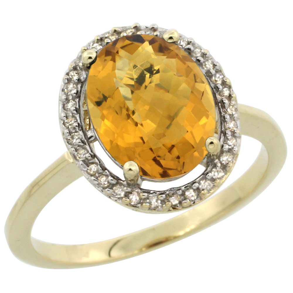 10K Yellow Gold Diamond Halo Natural Whisky Quartz Engagement Ring Oval 10x8 mm, sizes 5 10