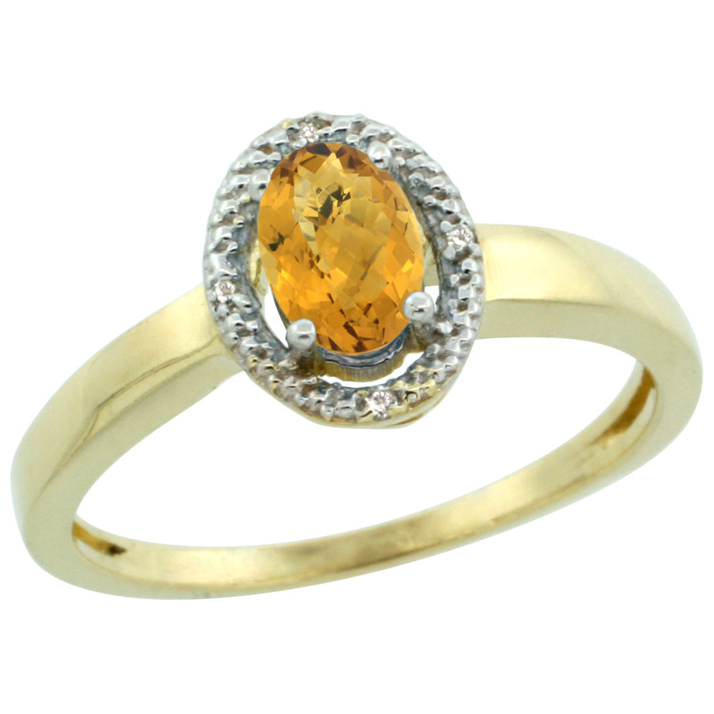 10K Yellow Gold Diamond Halo Natural Whisky Quartz Engagement Ring Oval 6X4 mm, sizes 5-10