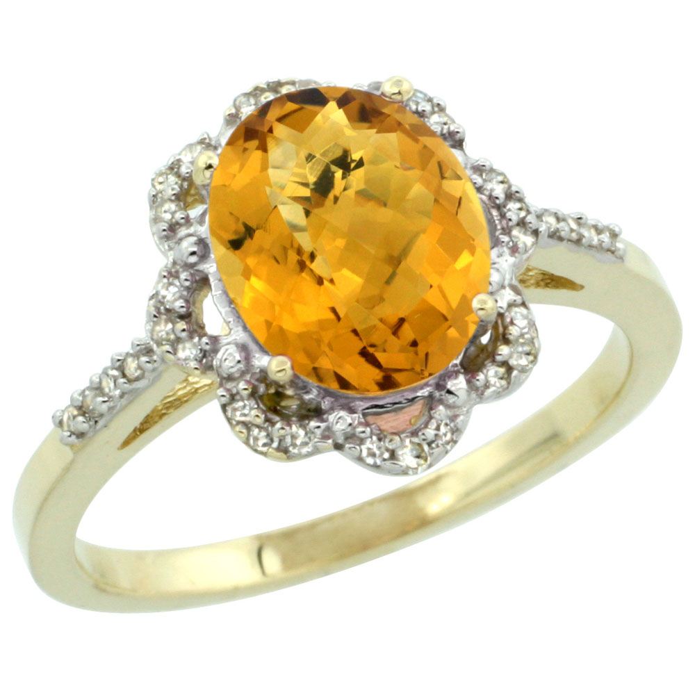 10K Yellow Gold Diamond Halo Natural Whisky Quartz Engagement Ring Oval 9x7mm, sizes 5-10