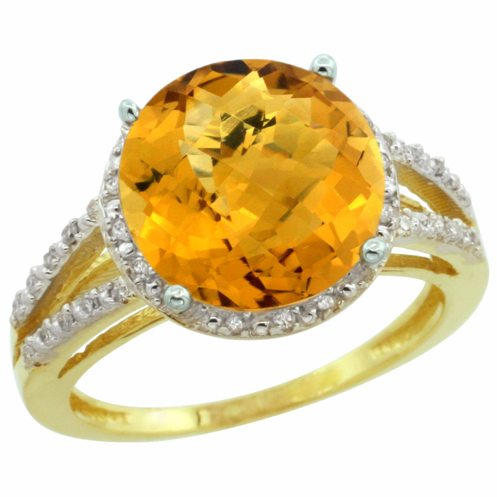 10K Yellow Gold Diamond Natural Whisky Quartz Ring Round 11mm, sizes 5-10