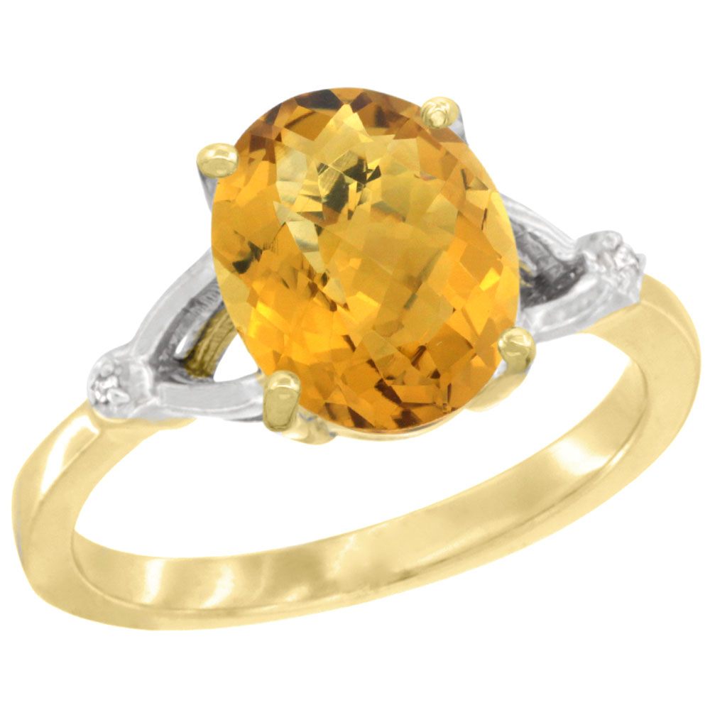 10K Yellow Gold Diamond Natural Whisky Quartz Engagement Ring Oval 10x8mm, sizes 5-10