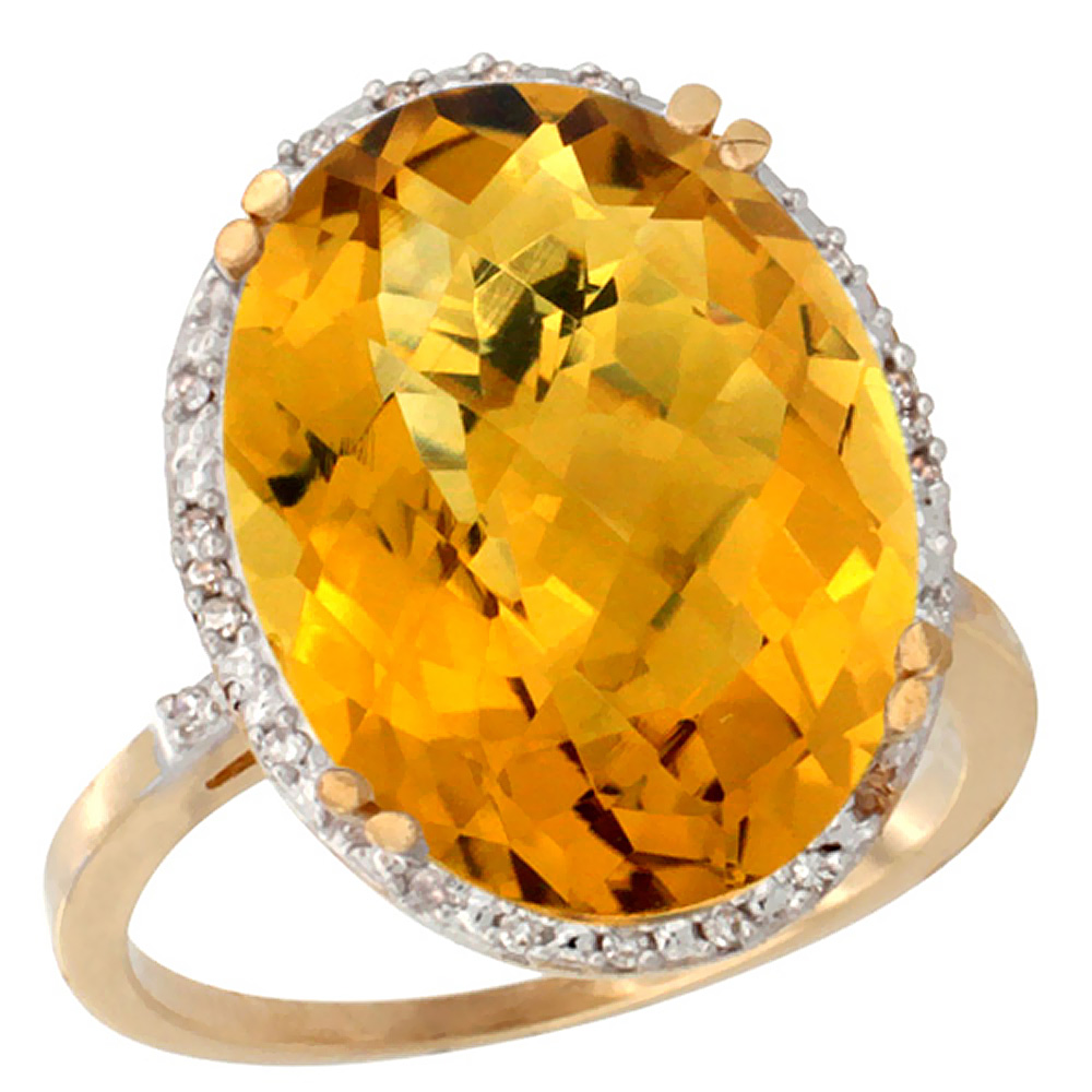 10k Yellow Gold Natural Whisky Quartz Ring Large Oval 18x13mm Diamond Halo, sizes 5-10