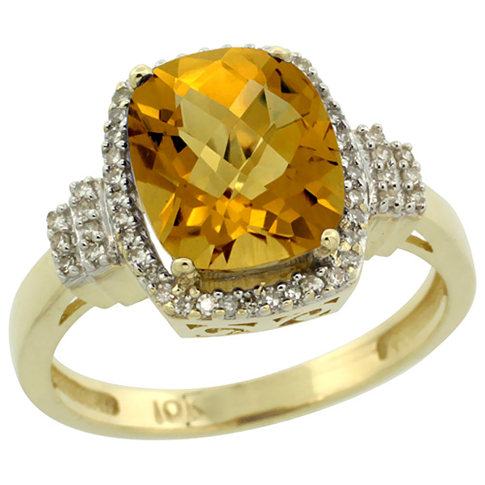 10k Yellow Gold Natural Whisky Quartz Ring Cushion-cut 9x7mm Diamond Halo, sizes 5-10