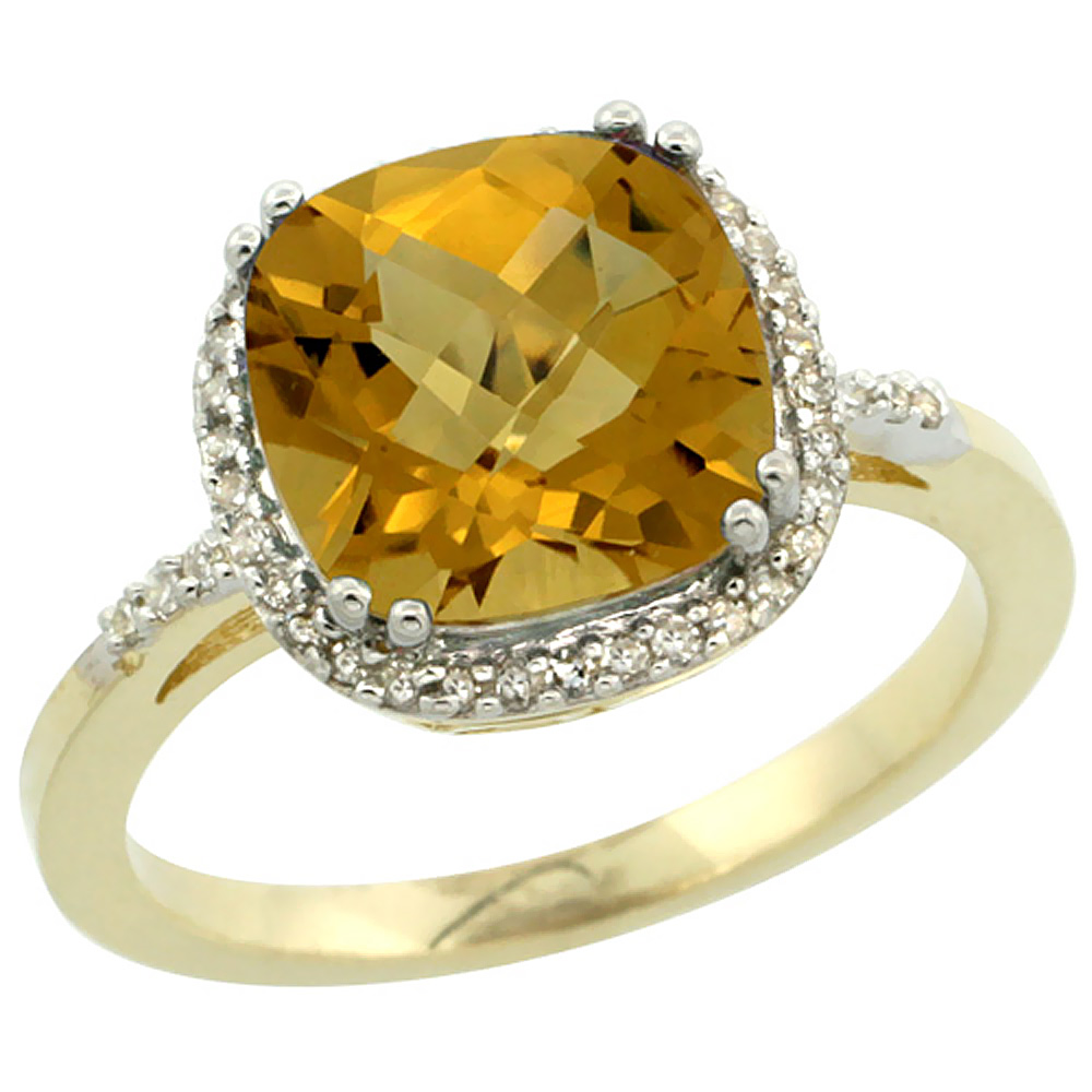10K Yellow Gold Diamond Natural Whisky Quartz Ring Cushion-cut 9x9mm, sizes 5-10