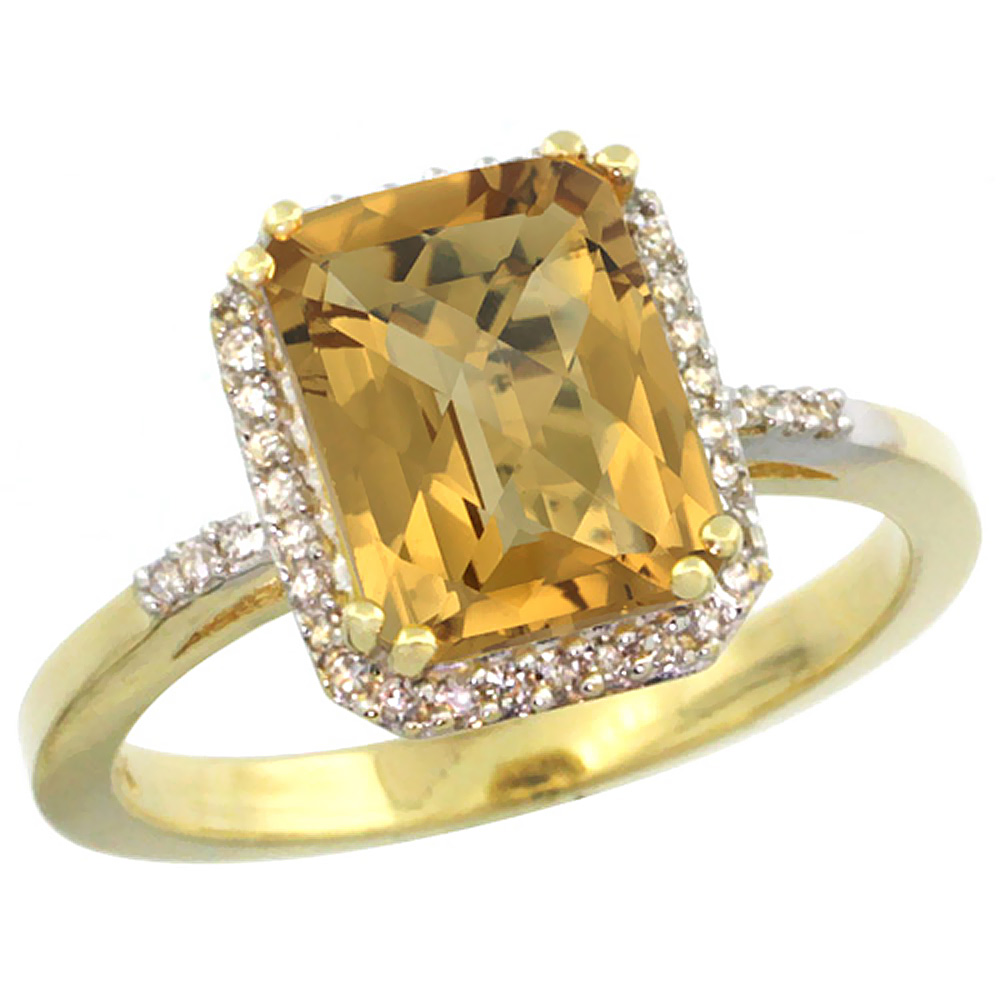 10K Yellow Gold Diamond Natural Whisky Quartz Ring Emerald-cut 9x7mm, sizes 5-10