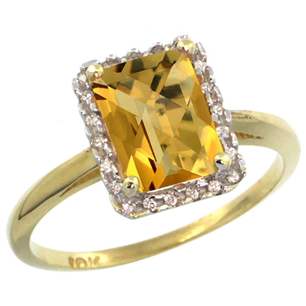 10K Yellow Gold Diamond Natural Whisky Quartz Ring Emerald-cut 8x6mm, sizes 5-10