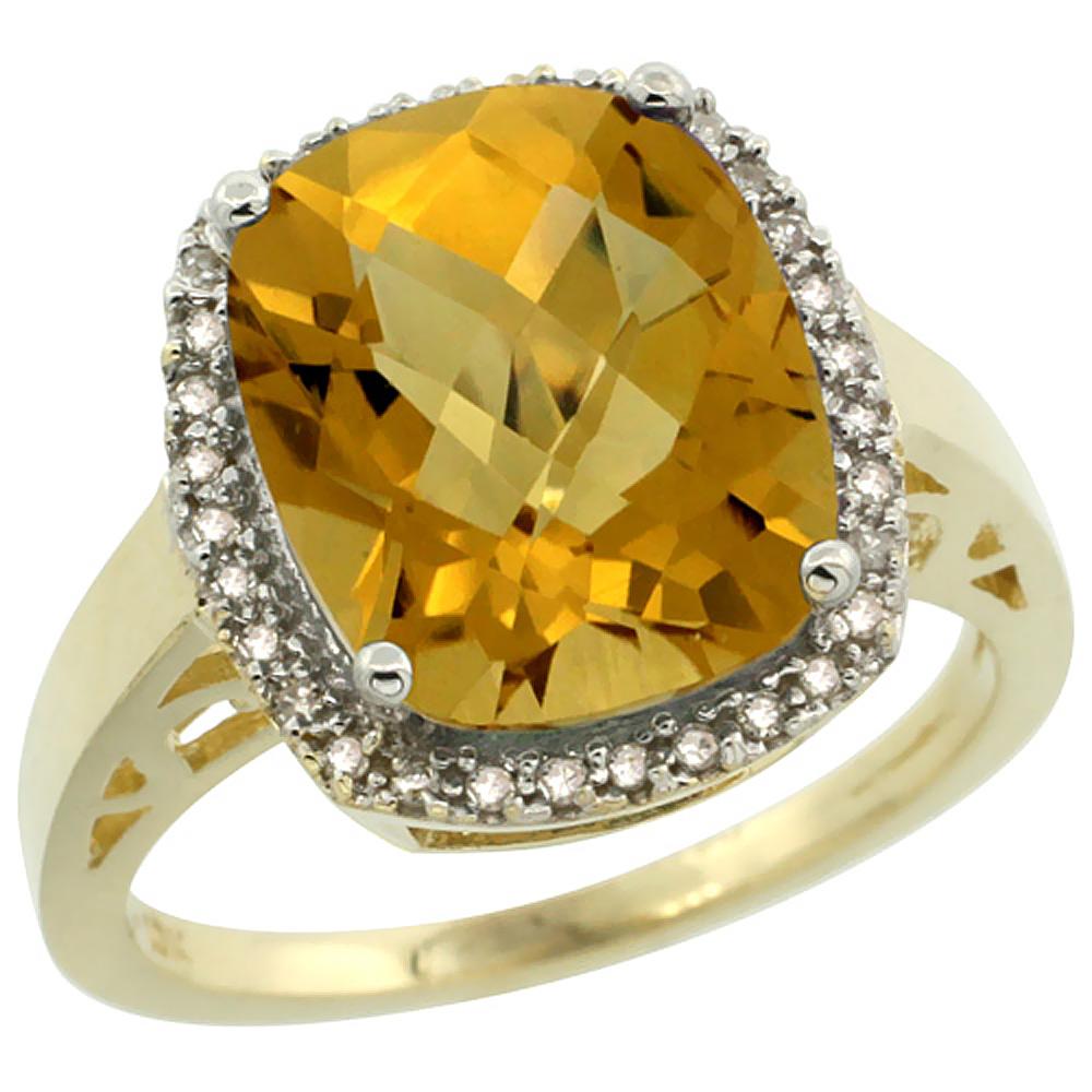 14K Yellow Gold Diamond Natural Whisky Quartz Ring Cushion-cut 12x10mm, sizes 5-10