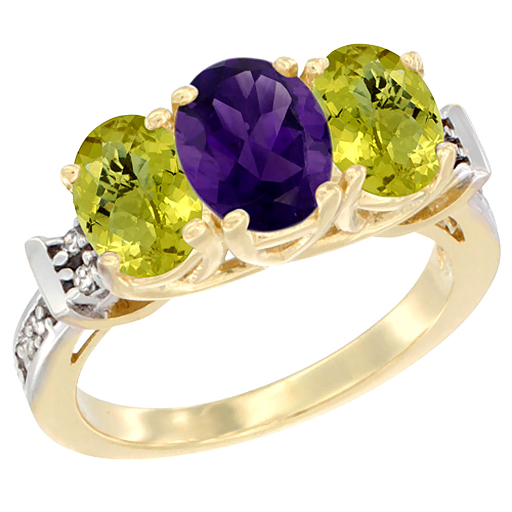 10K Yellow Gold Natural Amethyst & Lemon Quartz Sides Ring 3-Stone Oval Diamond Accent, sizes 5 - 10