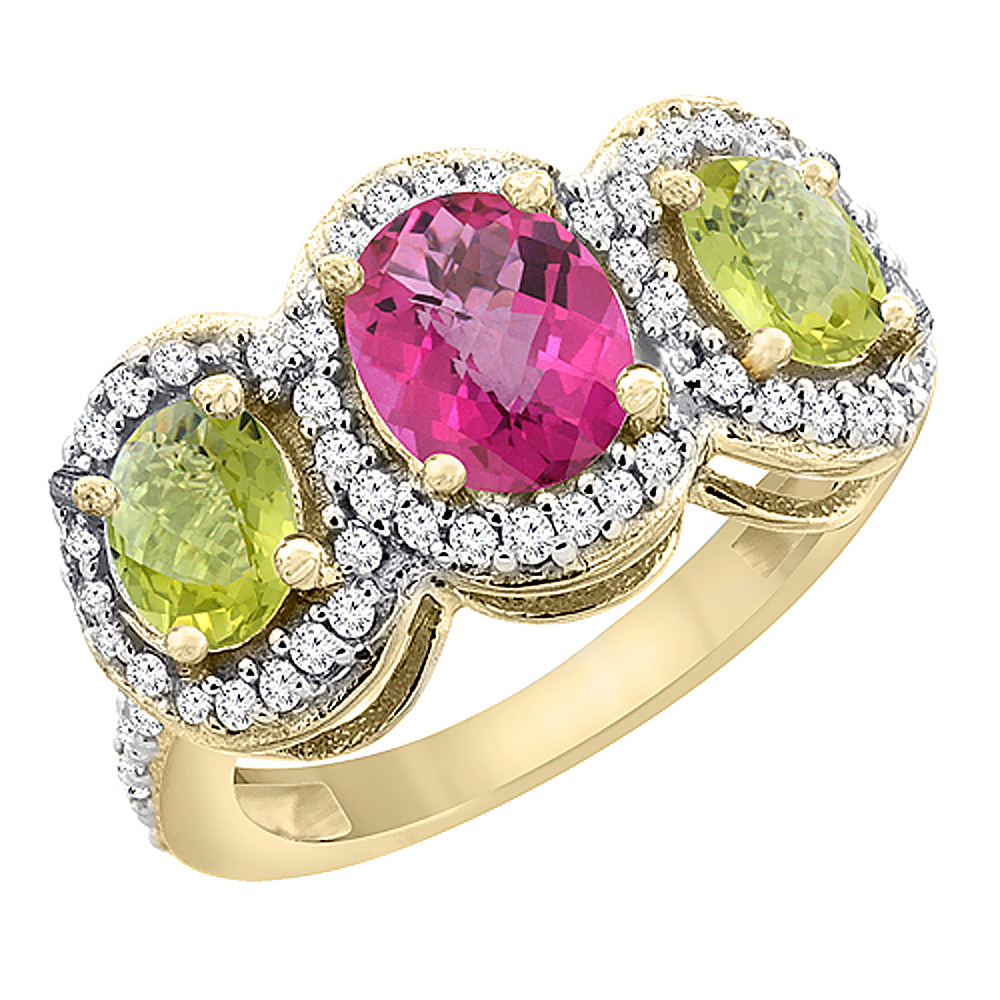 10K Yellow Gold Natural Pink Topaz & Lemon Quartz 3-Stone Ring Oval Diamond Accent, sizes 5 - 10